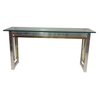 ** Romeo Rega Chrome and Brass Console Table For Sale