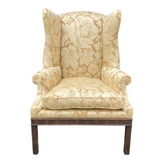 Antique George III Carved Mahogany Wingback Chair W Scalamandre Fabric For Sale