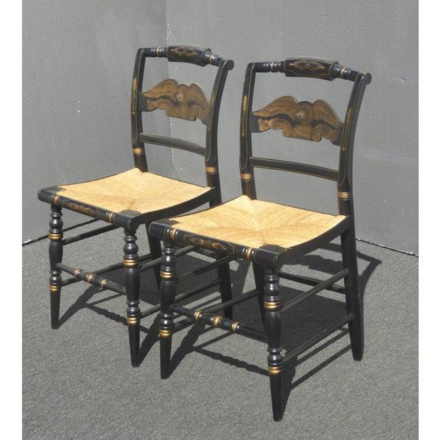 French Country Vintage Pair of L. Hitchcock Federal Black Eagle Chairs With Rye Seats For Sale - Image 3 of 11