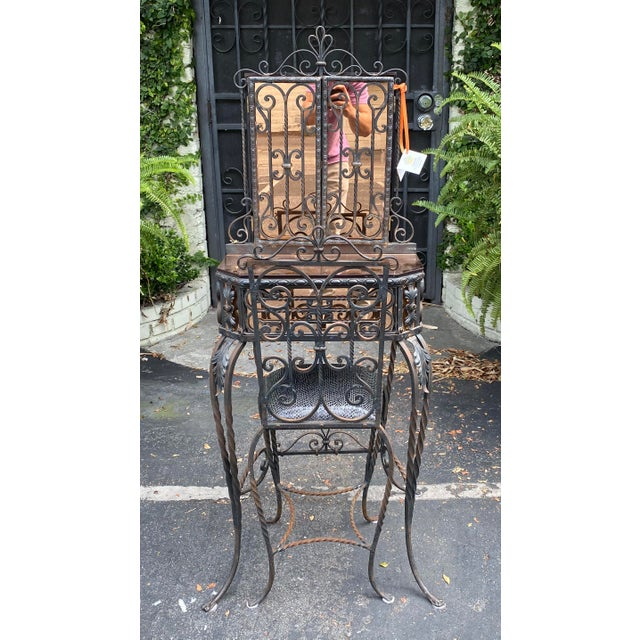 Art Deco Antique Art Deco Spanish Wrought Iron Champagne Mirrored Vanity & Chair - a Pair For Sale - Image 3 of 11