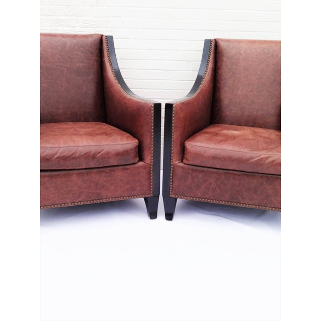 Art Deco Pair of High Back Leather Club Chairs For Sale - Image 3 of 7