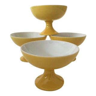 Mid-Century Modern Butter Yellow Ceramic Pedestal Dessert Bowls - Set of 4 For Sale