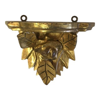 Vintage Gold Leaf Sconce Shelf For Sale