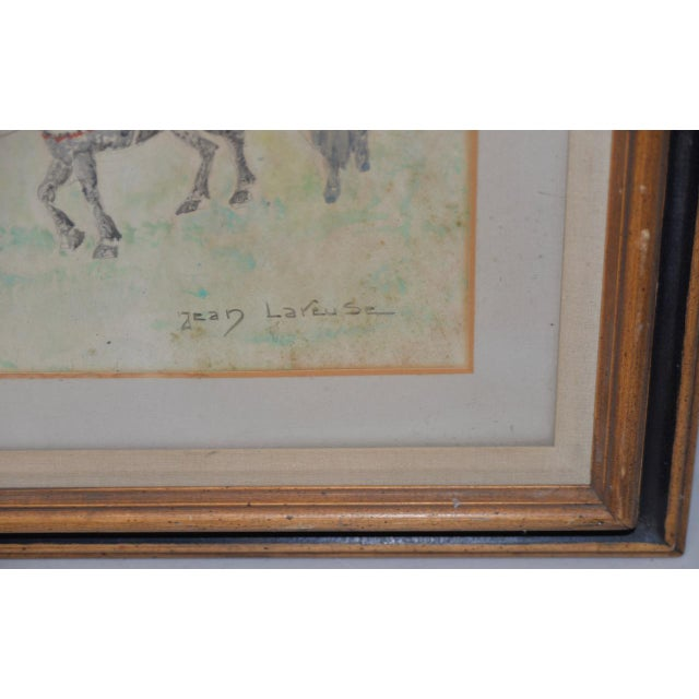 "Figurative Jean Lareuse ""School Girls on a Donkey Ride"" Original Watercolor C.1950 For Sale - Image 3 of 10"