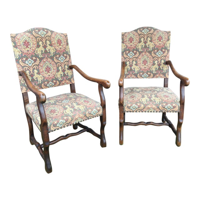 """19th Century French Solid Oak """"Os De Mouton"""" Chairs - A Pair For Sale"""
