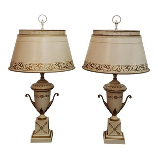 Tole French Empire Bouillette Lamps with Shades - a Pair For Sale