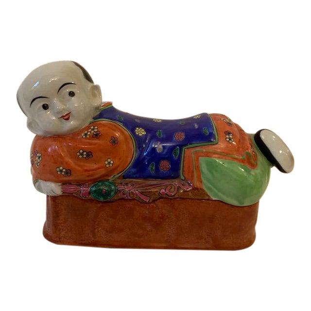 Vintage Asian Porcelain Headrest Trinket Box For Sale