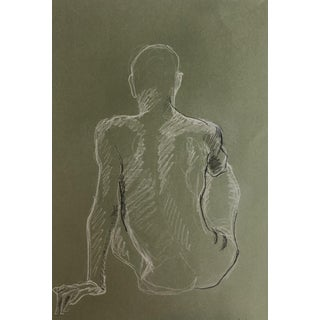 Seated Male Nude Life Class Drawing, 1984 For Sale