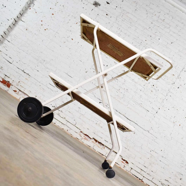 White Mid Century Modern Samsonite Tiered Patio Drink Cart of Fiberglass and Enameled Steel Tube in White For Sale - Image 8 of 13
