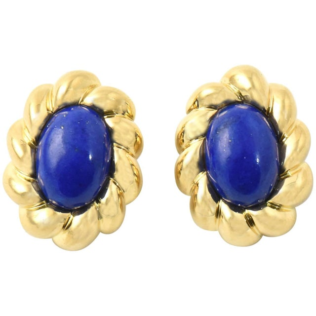 Blue 20th Century Contemporary Lapis Lazuli Sculpted Gold Clip Earrings - a Pair For Sale - Image 8 of 8