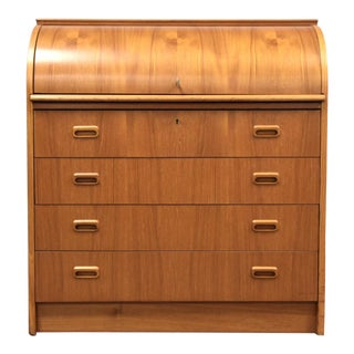 Modern Teak Drumroll Secretary Desk For Sale