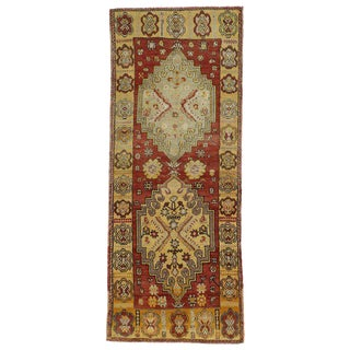 20th Century Rustic Style Turkish Oushak Hallway Runner - 3′10″ × 10′ For Sale