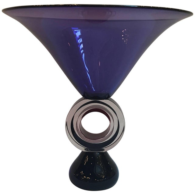 Italian Art Glass Amethyst Pedestal Bowl For Sale - Image 11 of 11