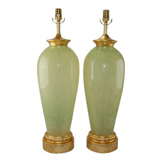 Vintage Murano Glass Table Lamps in Celadon For Sale