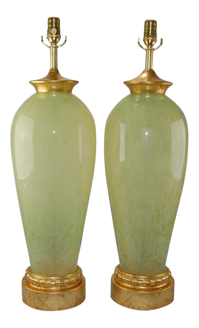 Vintage Murano Glass Table Lamps In Celadon