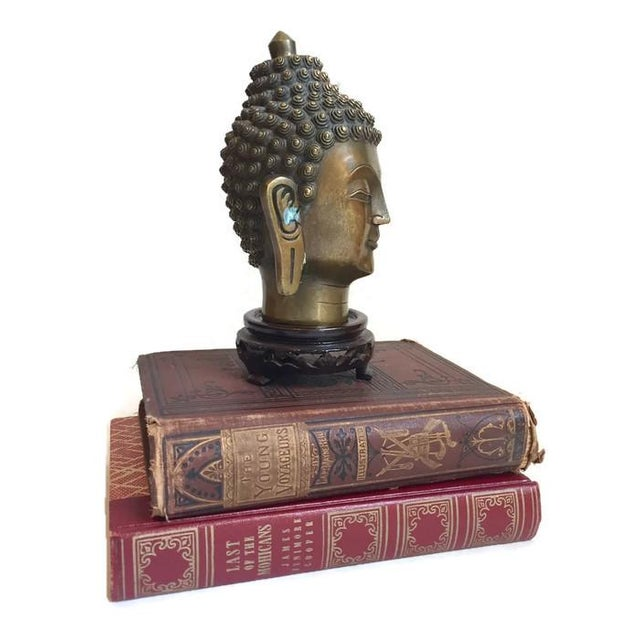 Vintage Tibetan Solid Brass Buddha Bust - Image 6 of 7