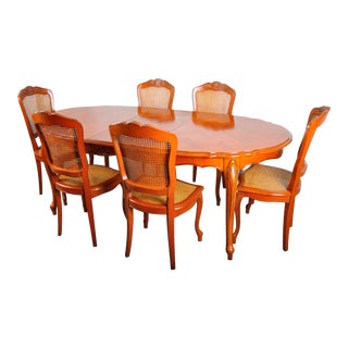 Vintage French Louis XV Style Cherry Wood Dining Set For Sale