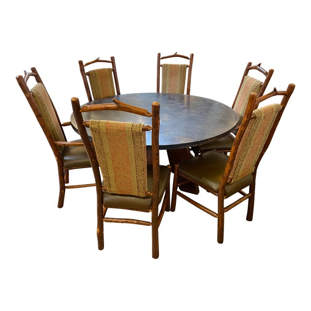 Custom Round Cement + Teak Dining Table + Six Hickory Wood Chairs- a Set For Sale