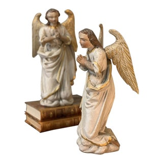 Pair 18th Century Hand Carved and Painted Italian Angels For Sale