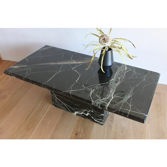 Sculptural Mid-Century Italian Vert d'Egypt Green Marble Pedestal Coffee Table For Sale - Image 12 of 13