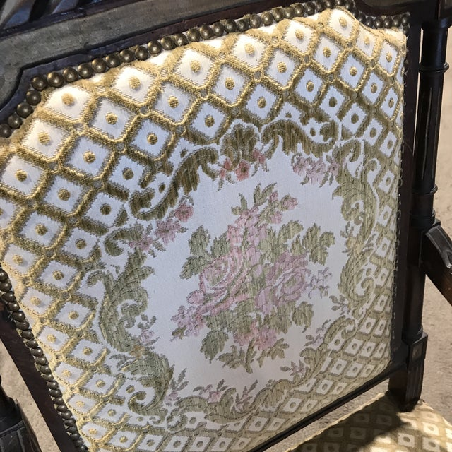 Antique Embroidered Floral Armchair For Sale - Image 4 of 10