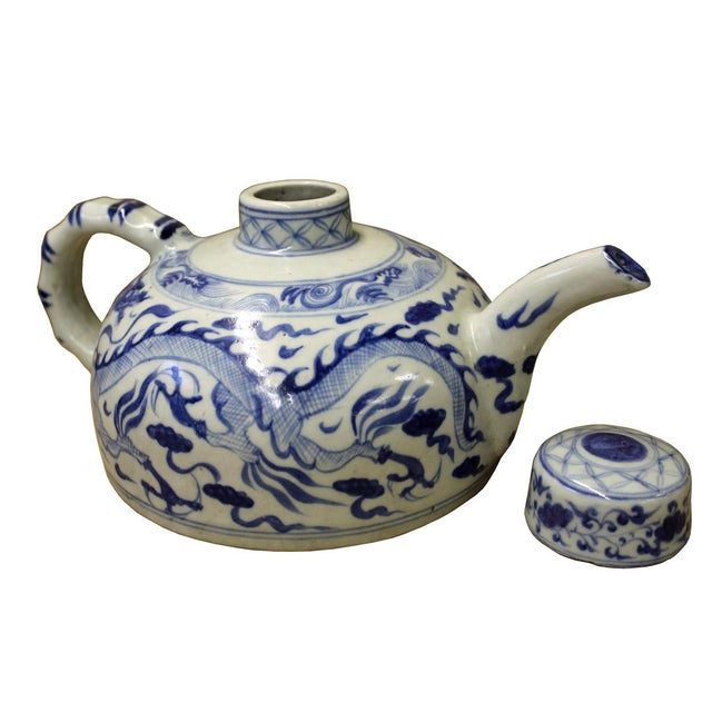 Chinese Blue & White Porcelain Teapot - Image 3 of 5