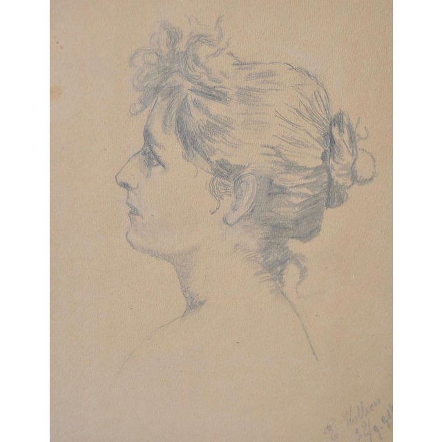 Early 20th Century Pencil Portrait of a Young Woman - Image 3 of 6