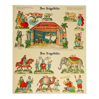 Antique Lithograph German Nativity Christmas Paper Set Uncut
