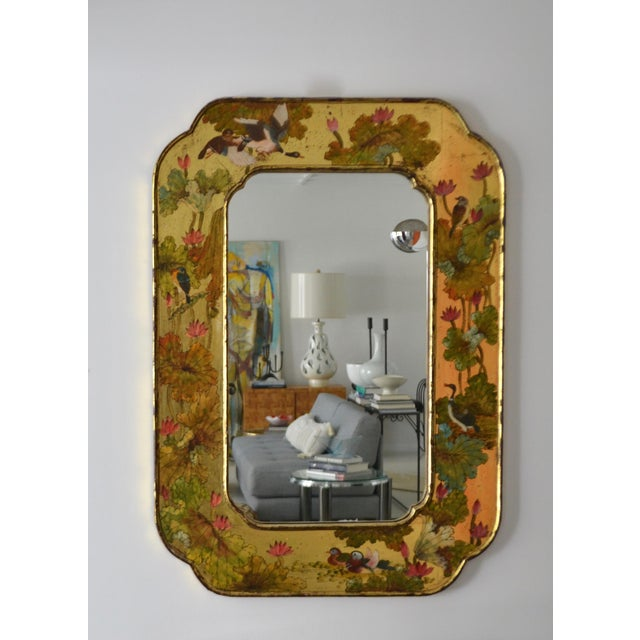 Hollywood Regency Hand-Painted Giltwood Wall Mirror For Sale - Image 4 of 12