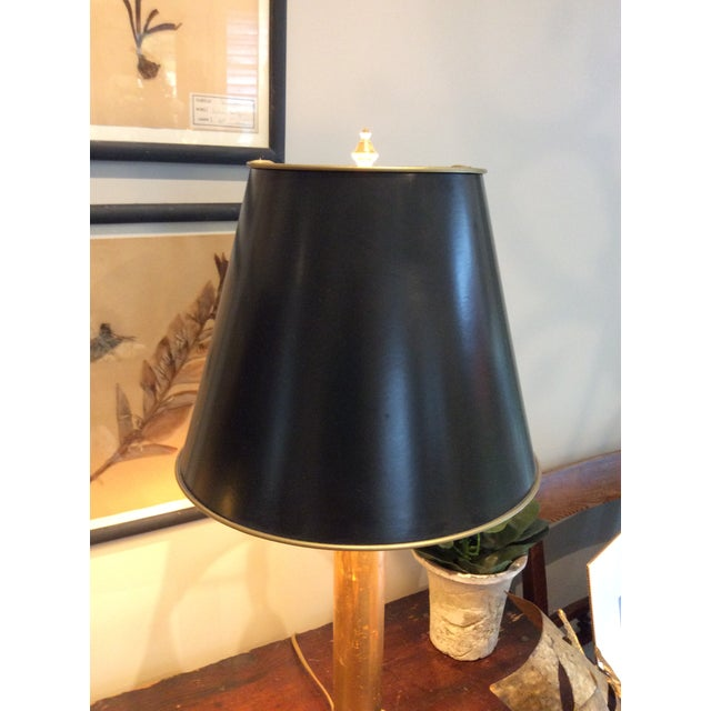 Gilded Column Lamps on Marble Bases With Black, Gold-Lined Shades - a Pair For Sale - Image 4 of 8
