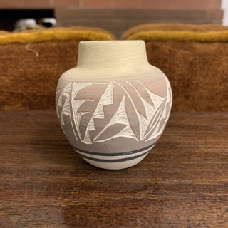 Vintage Mesa Verde Navajo Hand Painted and Hand Etched Pottery Vase, Signed Preview