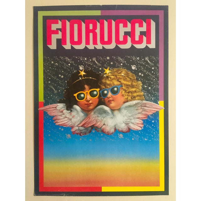 "Vintage 1980 Rare Fiorucci New Wave Italian Fashion Lithograph Print Poster ""Cherub Angels"" For Sale - Image 10 of 11"