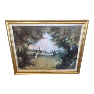 Original Large Landscape of Lady in the Country by Llewelyn For Sale