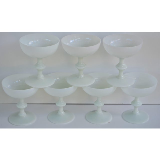 Portieux Vallerysthal 1970s Portieux Vallerysthal French Ivory Opaline Champagne Coupes - Set of 7 For Sale - Image 4 of 9