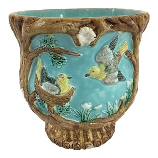 French Majolica Cachepot With Birds and Nests For Sale