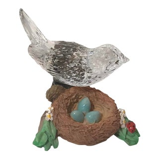 Vintage Waterford Crystal Bird Tending a Nest For Sale