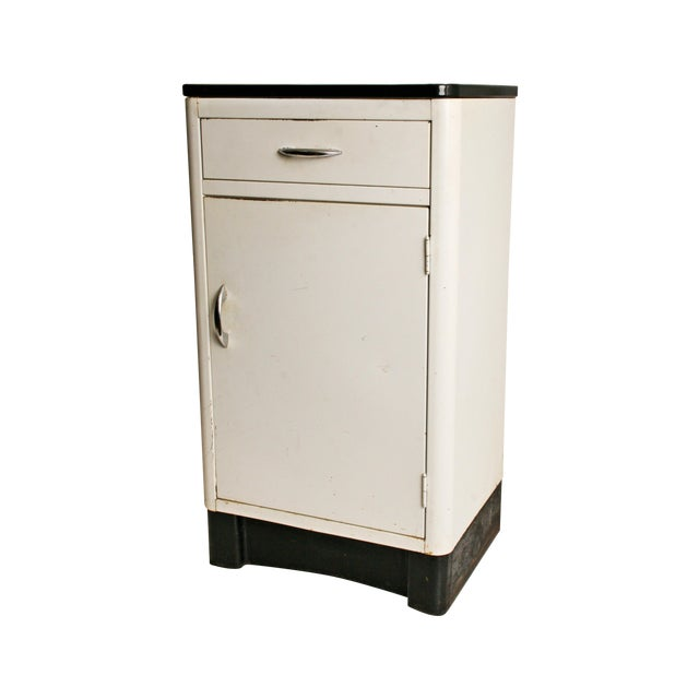 Mid-Century Enamel Top Metal Storage Cabinet - Image 1 of 11