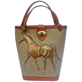 1960s Burlap Cloth Quilted Equine Leather Trim Handbag For Sale