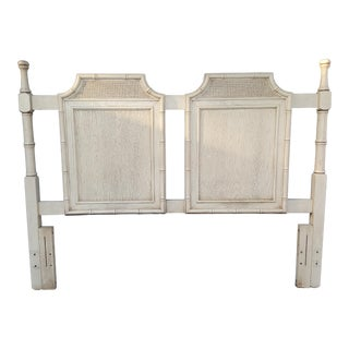 Vintage Chinoiserie Pagoda Off White Faux Bamboo Queen Headboard For Sale
