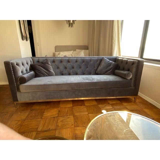 Modern Charcoal Grey Velvet Chesterfield Sofa For Sale - Image 4 of 4