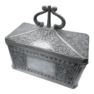 Pewter Chased Tobacco Box, Late 19th/Early 20th Century For Sale