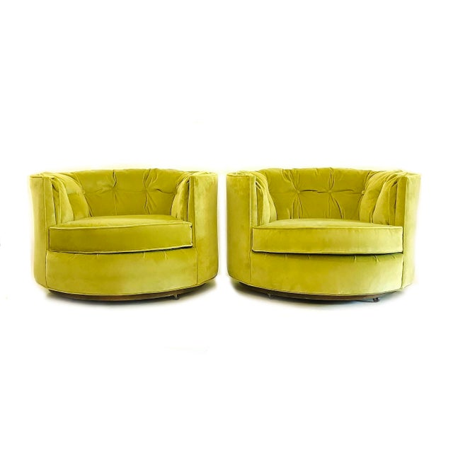 Vintage Chartreuse Velvet Club Chairs - a Pair For Sale - Image 5 of 5