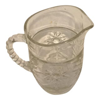 Clear Glass Small Pitcher, Sun Burst Pattern For Sale
