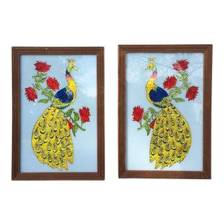 Peacock Reverse Glass Paintings- a Pair For Sale