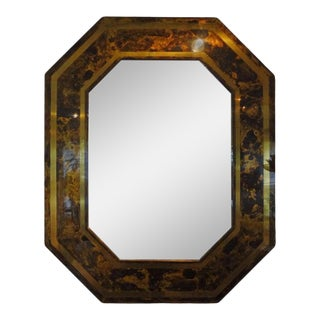 1960's French Bronze Octagonal Tortoise Shell Pattern Mirror Attributed to Maison Jansen For Sale