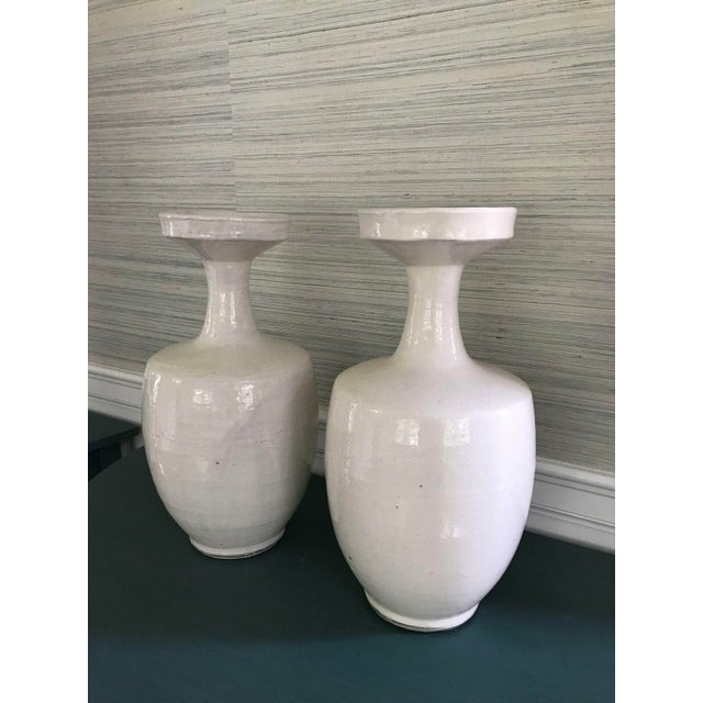 Tall Glazed White Ceramic Urns - A Pair - Image 4 of 6