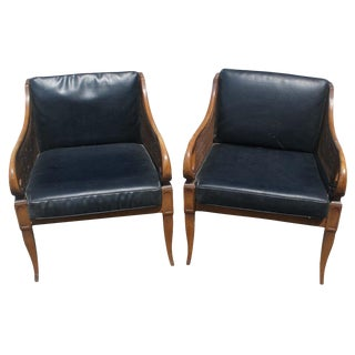 Mid-Century American of Martinsville Cane Lounge Chairs -a Pair