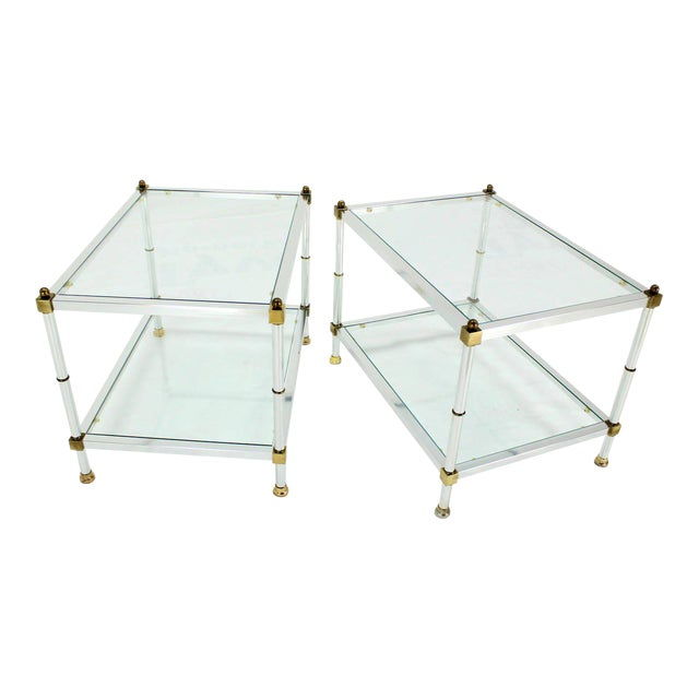 Pair of Mid-Century Modern Glass Brass Chrome Side or End Tables For Sale