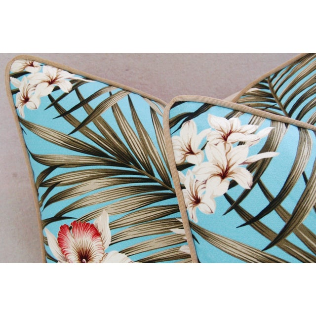 Custom Tropical Palm & Orchid Pillows - A Pair - Image 8 of 11