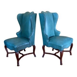 Hollywood Regency Turquoise Leather Wingback Chairs - a Pair For Sale